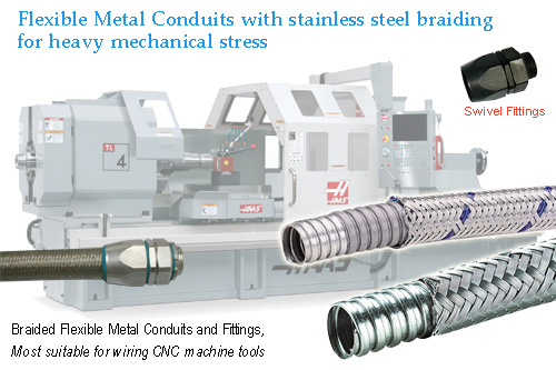 Flexible metal conduit with stainless steel braiding for heavy mechanical stress