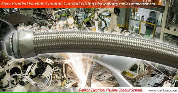 Delikon Over Braided Flexible Conduit, Conduit Fittings for industry cables management