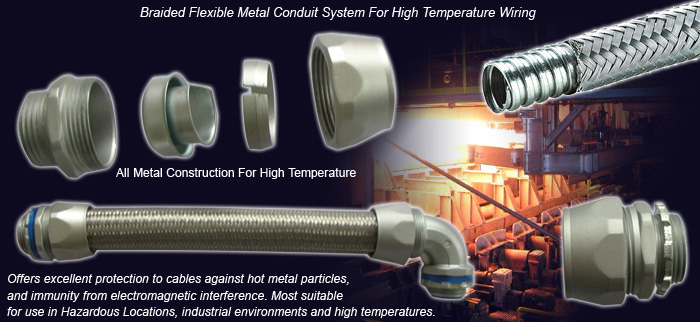 Overbraided Flexible Steel Conduit For High Temperature Wiring